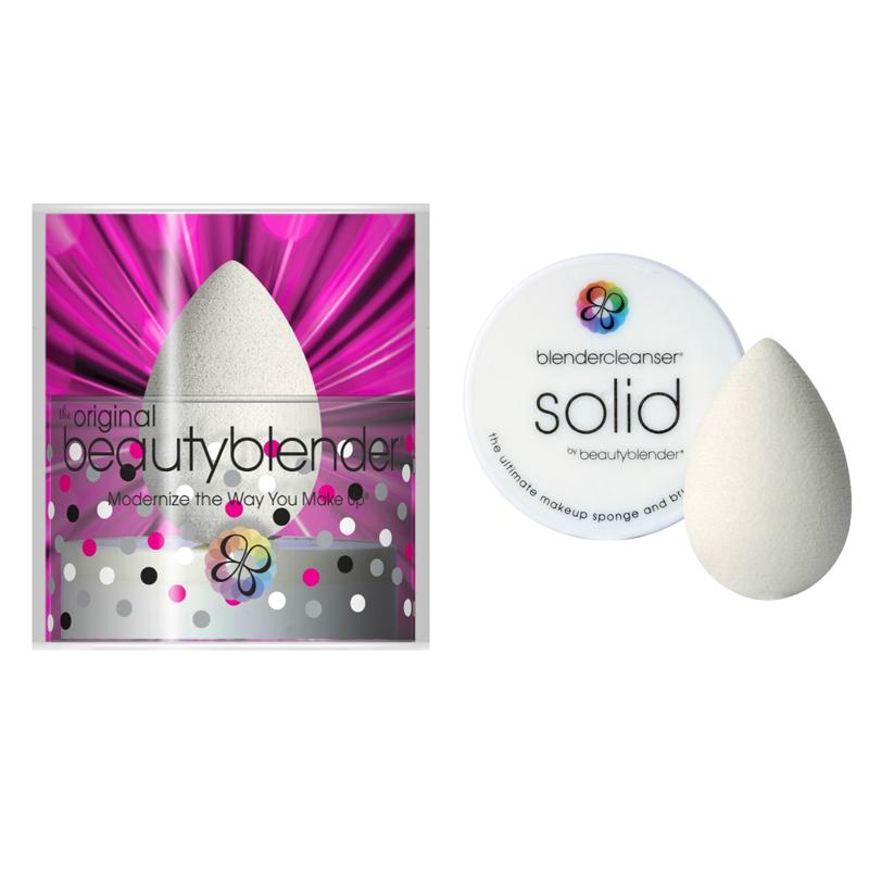 Спонжи и аппликаторы beautyblender Набор спонж beautyblender Pure + Мыло для очистки Solid (Цвет Pure variant_hex_name D2D2C8)