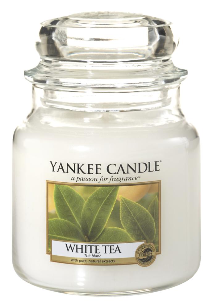 Ароматическая свеча Yankee Candle White Tea Medium Jar Candle (Объем 411 г)