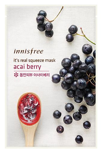 Тканевая маска InnisFree Its Real Squeeze Mask Acai Berry (Объем 20 мл)