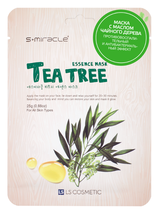 Тканевая маска S-Miracle Tea Tree Essence Mask (Объем 25 г)