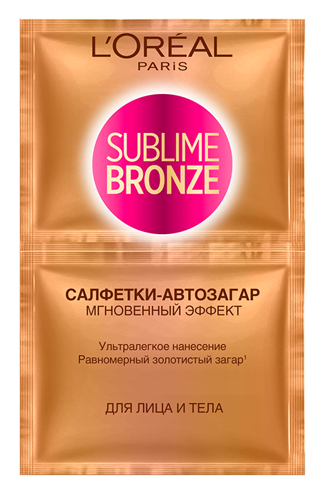 Загар LOreal Paris Sublime Bronze. Салфетки-автозагар