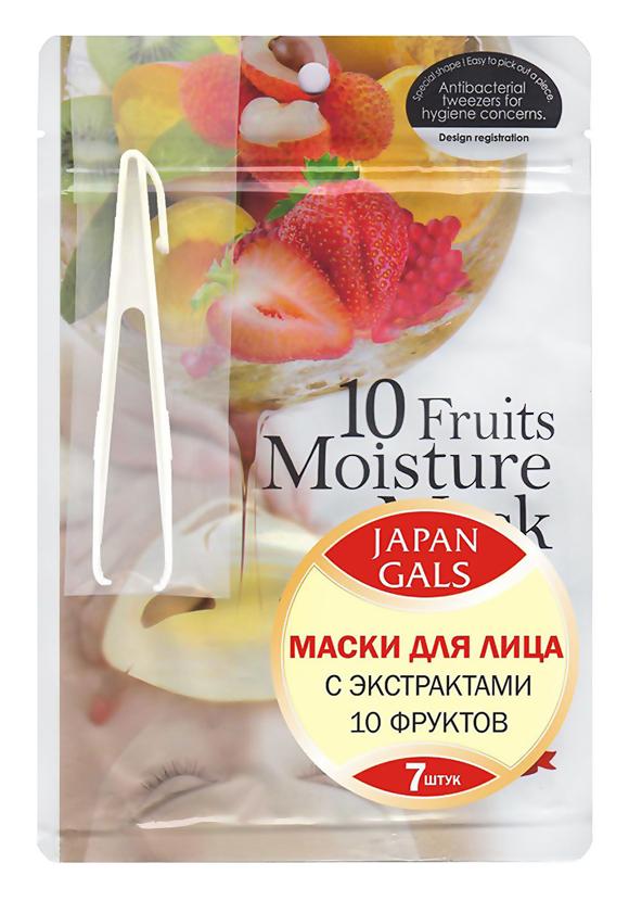 Тканевая маска Japan Gals Набор масок с экстрактами 10 фруктов Pure 5 Essential 7 шт.