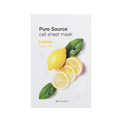 Тканевая маска Missha Pure Source Cell Sheet Mask Lemon (Объем 21 г) missha pure source cell sheet mask bamboo объем 21 г