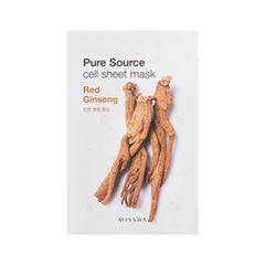 Тканевая маска Missha Pure Source Cell Sheet Mask Red Ginseng (Объем 21 г) missha triple shadow 06 цвет 06 marsala red
