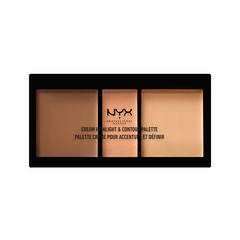 Для лица NYX Professional Makeup Cream Highlight & Contour Palette 02 (Цвет 02 Medium variant_hex_name E8C7A8) no 02 multifunction rectangle box makeup 120 colors eye shadows palette for ladies