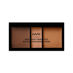 Для лица NYX Professional Makeup Cream Highlight & Contour Palette 03 (Цвет 03 Deep variant_hex_name E0AB8C) makeup base color corrector contour cream concealer palette