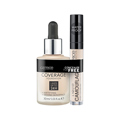 Тональная основа Catrice Набор HD Liquid Coverage Foundation 010 + Liquid Camouflage 010 (Цвет 010 Light Beige variant_hex_name EBC3A7)