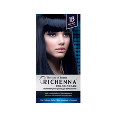 Фото Перманентное окрашивание Richenna Color Cream 1B (Цвет 1B Blue Black variant_hex_name 000008)