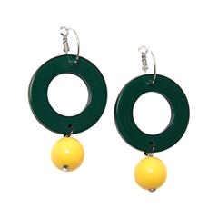 Серьги Aloud Серьги с желто-зелеными подвесками серьги с подвесками jv серебряные серьги с ювелирным стеклом и куб циркониями dm0804e us 001 wg