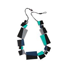 Колье Aloud Черное колье с голубыми и синими вставками