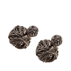 Серьги Herald Percy Плетеные серьги покрытые черным родием в виде шариков jacques lemans jl lp 111d