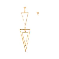 Серьги Aqua Асимметричные серьги-треугольники золотого цвета