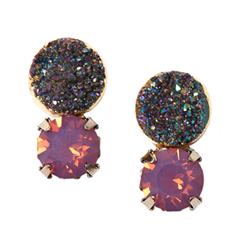 Серьги Wisteria Gems Серьги-пусеты с друзами и фиолетовыми кристаллами