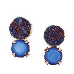 Серьги Wisteria Gems Серьги-пусеты с синими друзами и кристаллами
