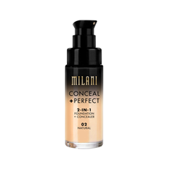 Тональная основа Milani Conceal + Perfect 2-in-1 Foundation + Concealer 02 (Цвет 02 Natural variant_hex_name E4C09E) корректоры the saem cover perfection concealer foundation spf50 pa 1 5