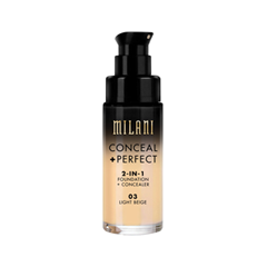 Тональная основа Milani Conceal + Perfect 2-in-1 Foundation + Concealer 03 (Цвет 03 Light Beige variant_hex_name DFB791) корректоры missha the style perfect concealer light beige