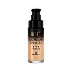 Тональная основа Milani Conceal + Perfect 2-in-1 Foundation + Concealer 05 (Цвет 05 Warm Beige variant_hex_name D1A57F) корректоры the saem cover perfection concealer foundation spf50 pa 1 5
