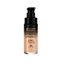 Тональная основа Milani Conceal + Perfect 2-in-1 Foundation + Concealer 08 (Цвет 08 Light Tan variant_hex_name E0A574) корректоры the saem cover perfection concealer foundation spf50 pa 1 5