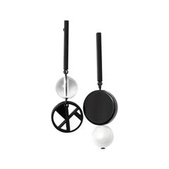 Серьги Nuance Асимметричные серьги с черно-белыми подвесками серьги с подвесками jv серебряные серьги с синт агатами и куб циркониями rjes 001430 02 ags 001 wg