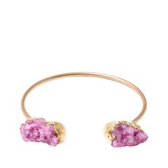 Браслеты Wisteria Gems Золотистый браслет с розовыми друзами