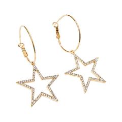Серьги Exclaim Серьги-кольца с блестящими подвесками в форме пятиконечной звезды кольца exclaim кольцо коллекция classic