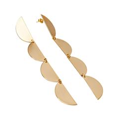 Серьги Exclaim Серьги с элементами в форме полукруга золотистого цвета серьги с султанитом в москве