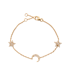 Браслеты Exclaim Легкий браслет с подвесками в форме месяца и звезд браслеты exclaim легкий браслет цепочка с миниатюрными цирконами