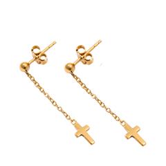 Серьги Exclaim Серьги с подвесками-крестиками на тонкой цепочке серьги с подвесками jv серебряные серьги с жадеитами куб циркониями и силиконом a4944 jd js ci 001 wg