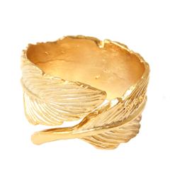 Кольца Aqua Золотистое кольцо-перо (Размер U) шкатулка холуй перо жар птицы николаева 779690