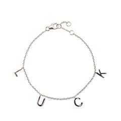 Браслеты Exclaim Серебряный браслет-цепь с подвесками в форме букв Luck exclaim браслет цепочка серебряный с подвесками