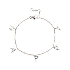 Браслеты Exclaim Серебряный браслет-цепочка с подвесками в форме букв Happy exclaim браслет цепочка серебряный с подвесками
