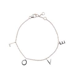 Браслеты Exclaim Серебряный браслет-цепочка с подвесками в форме букв Love exclaim браслет цепочка серебряный с подвесками