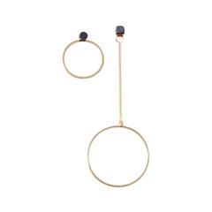 Серьги Lisa Smith Асимметричные серьги-кольца с черными точкамие lisa smith серьги с перьями павлина