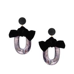 Серьги Lisa Smith Серьги-кольца с черным бантом свитшот серый кот и бант lisa