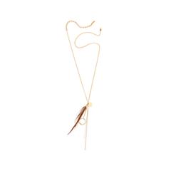 Колье Nuance Золотистая подвеска с пером удар отточенным пером