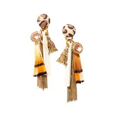 Серьги Unique Серьги-кисти с желтым пером с какой застежкой купить серьги
