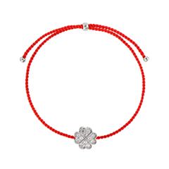 Браслеты Wanna? Be! Браслет Клевер на красной нити посеребренный с кристаллами браслеты exclaim легкий браслет цепочка с миниатюрными цирконами