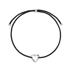Браслеты Wanna? Be! Браслет Сердечко на черной нити посеребренный strand браслеты браслет браслет малы природа мода браслеты коричневый назначение особые случаи подарок