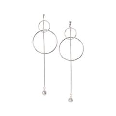 Серьги Aqua Серебристые серьги-окружности с длинной цепочкой