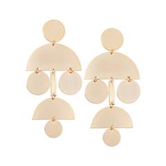 Серьги Aqua Серьги золотые блестящие с полукругами и кругами