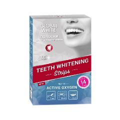 Отбеливание Global White Отбеливающие полоски для зубов Teeth Whitening Strips Full white line natura набор д депил картридж подогрев 2 лосьона полоски вид инструкция