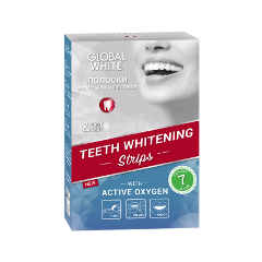 Отбеливание Global White Отбеливающие полоски для зубов Teeth Whitening Strips Express white line natura набор д депил картридж подогрев 2 лосьона полоски вид инструкция