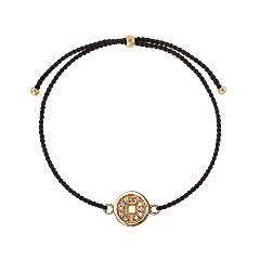 Браслеты Wanna? Be! Браслет Монетка на черной нити позолоченный с цирконами браслеты indira браслет с камнем br042