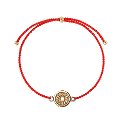 Браслеты Wanna? Be! Браслет Монетка на красной нити позолоченный с цирконами браслеты indira браслет с камнем br042