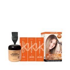 Уход Kativa Набор для выпрямления волос с маслом Арганы kativa кератиновый укрепляющий шампунь набор шампунь 100 мл кондиционер 100 мл