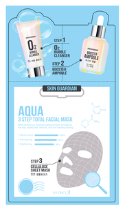 Тканевая маска - Skin Guardian Aqua 3 Step Total Facial Mask