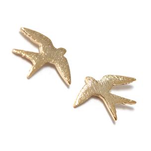 Золотистые серьги-птицы