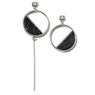 Колье SKYE Асимметричные серьги с черным мраморным камнем