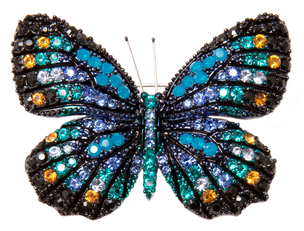 Брошь бабочка синего цвета
