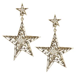 Серьги-звезды с мини-жемчугом и цирконами
